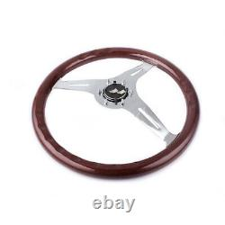 15/380mm Matte Silver Steering Wheel Dark Stained Wood Grip with Rivets Brown