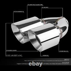 2Pcs Universal Stainless Steel Racing 2.5ID Dual Quad Exit Exhaust Muffler Tips