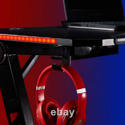 47.223.6 Gaming Desk Computer Racing Table WithRGB Lights With Headphone Hooks US