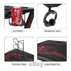 Ergonomic Gaming Desk 43 K-Shape Home Office Computer Table Racing Style Black