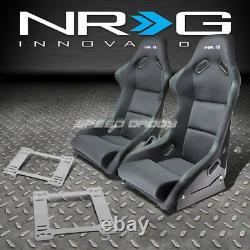 Nrg Fiberglass Bucket Racing Seats+stainless Steel Bracket For 90-97 Mx5 Miata