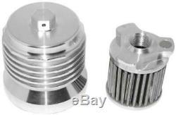 PC Racing Stainless Steel Reusable Spin On Oil Filter Gun Metal Gray PCS2