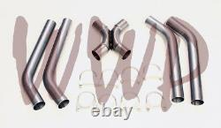 Stainless Steel SS409 Universal Crossover X-Pipe Exhaust System Kit 2.25 Dia