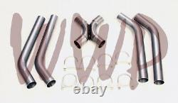 Stainless Steel SS409 Universal Crossover X-Pipe Exhaust System Kit 2.50 Dia