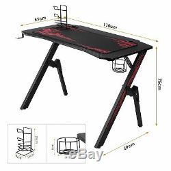 Ergonomique Des Jeux Bureau 43 K-shape Accueil Ordinateur De Bureau Table Racing Noir Style