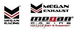 Megan Racing Universal Inox Angled Twin Blast Pipes 3 Blue Tip 3 Inlet