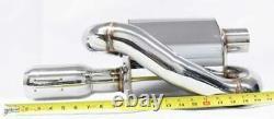 Obx Racing Sport Universal 2.5 En Acier Inoxydable Mugen Style Twin Loop Muffler