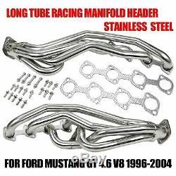 Pour Ford Mustang Gt 4.6 V8 96-04 Inoxydable Long Tube Collecteur En-tête De Course